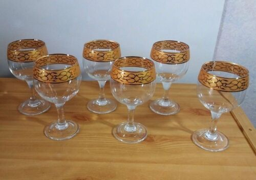 Vintage Clear Gold Trim Set of 6 Wine Glass Tumbler Stemware