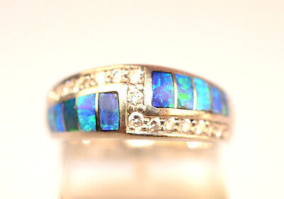 Contemporary White Gold Rings - CONTEMPORARY 14K WHITE GOLD INLAID OPAL & 15 ACCENT DIAMOND RING BAND SIZE 6.5