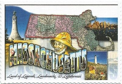 Postcard Massachusetts Land Of Legends Landmarks Lighthouses Mint