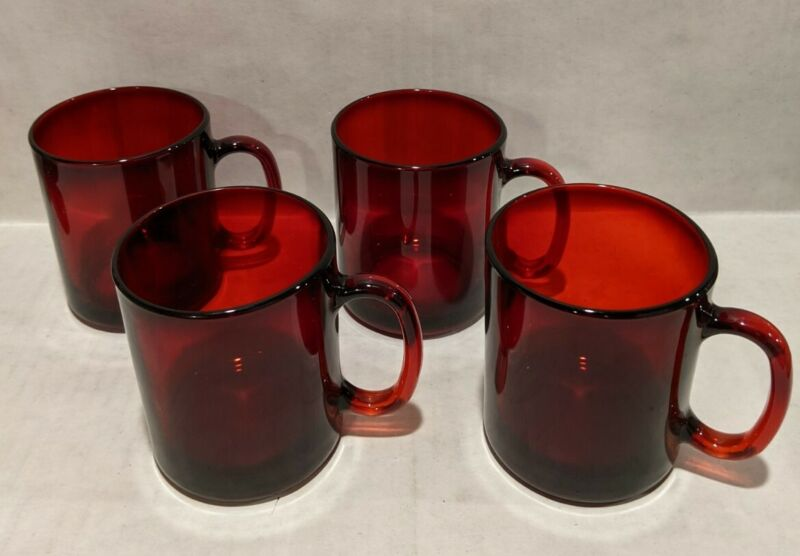 Lot Set of 4 Ruby Classique Red Clear Glass Coffee Mugs Made in France