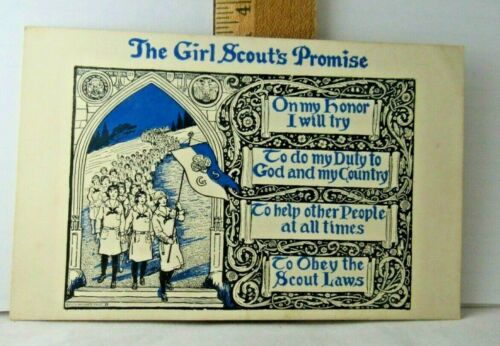 """NEW 1928 Girl Scout """"PROMISE"""" POSTCARD Artistic/Baroque CHRISTMAS Gift Combine"""