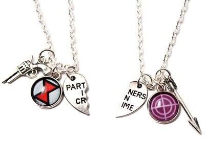 Black Widow Necklace (Black Widow and Hawkeye BFF 2 Piece Split Heart Metal Pendant NECKLACE)