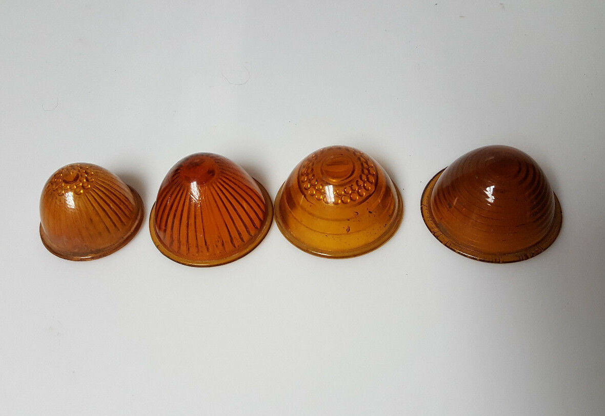 Vintage tail light lot Glass Yellow Amber varying designs Norjay S&M Lamp pollak