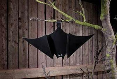 Black Tin Hanging Bat  With Jeweled Eyes for Halloween - Black Eyes For Halloween