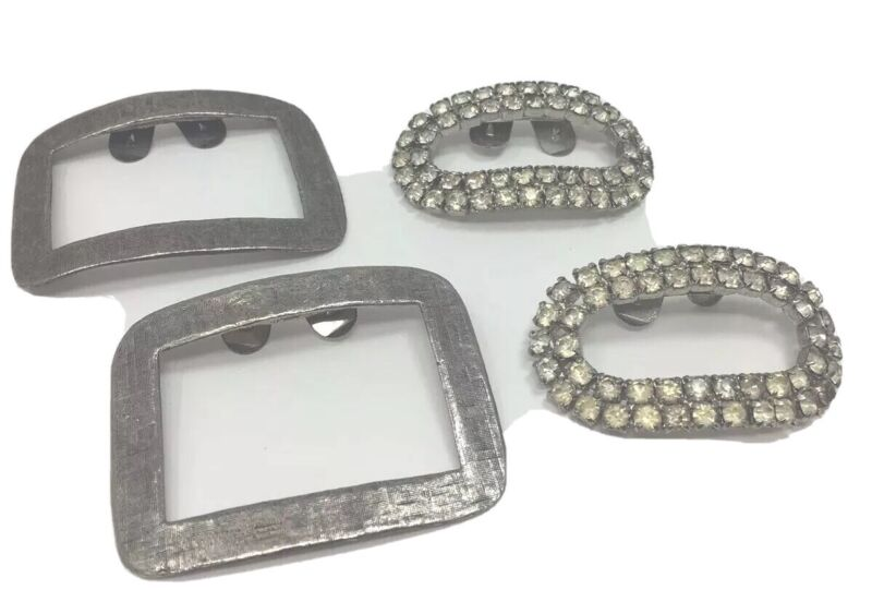 Vintage MUSI Shoe Clips Silver Squares & Ovals With Rhinestones Lot 2 Pairs