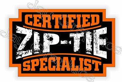 Funny Hard Hat Sticker Certified Zip Tie Specialist Helmet Toolbox Decal