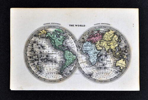 1834 Starling Miniature Map World Hemispheres North America Europe Africa Asia