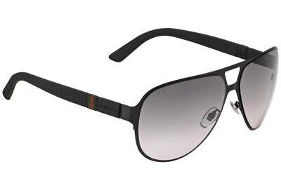 GUCCI Men's Sunglasses GG2252 M7A Black Matte/Grey Lens Aviator (62mm Aviators)