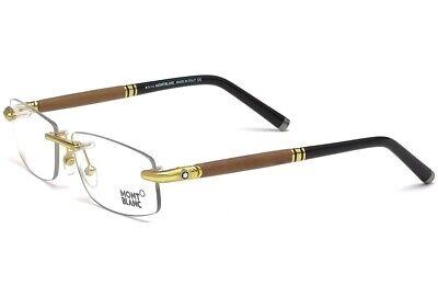 Montblanc MB491 030 Men's Rimless Eyeglass Gold Walnut Wooden Temple 58-15-140 (Wooden Eyeglass Frames)