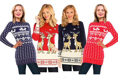 Ladies Christmas Party Jumper Dress Women Xmas Novelty Knitted Tunic Retro Top
