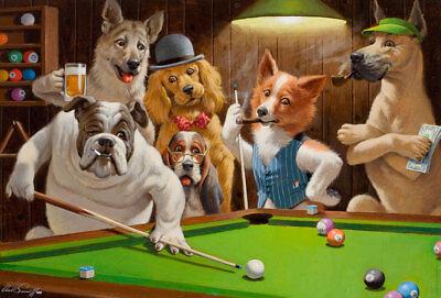 - Home Decor Art QUALITY CANVAS PRINT,Arthur Sarnoff dogs Playing Pool-1,24x36