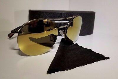 NEW Prada SPS54R Round Sunglasses in Yellow Flash Lenses and Silver (Cheap Prada Frames)