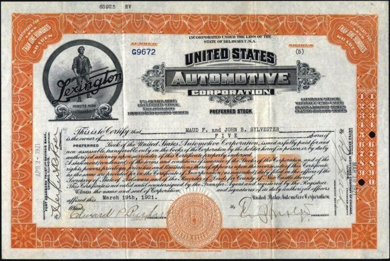 UNITED STATES AUTOMOTIVE CORP (LEXINGTON AUTO) 1921, PREFERRED STOCK CFT.