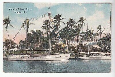 [50209] 1923 POSTCARD SAILBOATS DOCKED ON MIAMI RIVER in MIAMI, FLORIDA