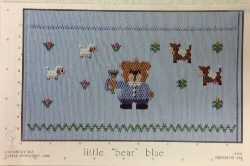 "LITTLE MEMORIES SMOCKING PLATE #109 LITTLE ""BEAR"" BLUE"