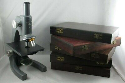Working Bausch Lomb Monocular Microscope 43x 10x Five Old Wood Slide Boxes