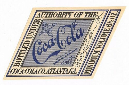 C1910? SODA BOTTLE LABEL COCA COLA EARLY PERIOD UNUSED STRAIGHT SIDE DIAMOND