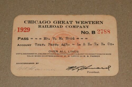 1929 Chicago Great Western Railroad Company Pass