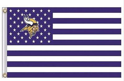 Minnesota Vikings 3x5 Ft American Flag Football New In - Minnesota Viking Football