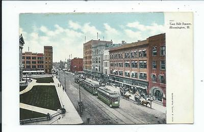 Postcard Post Card Bloomington Illinois Ill Il East Side Square Trolley
