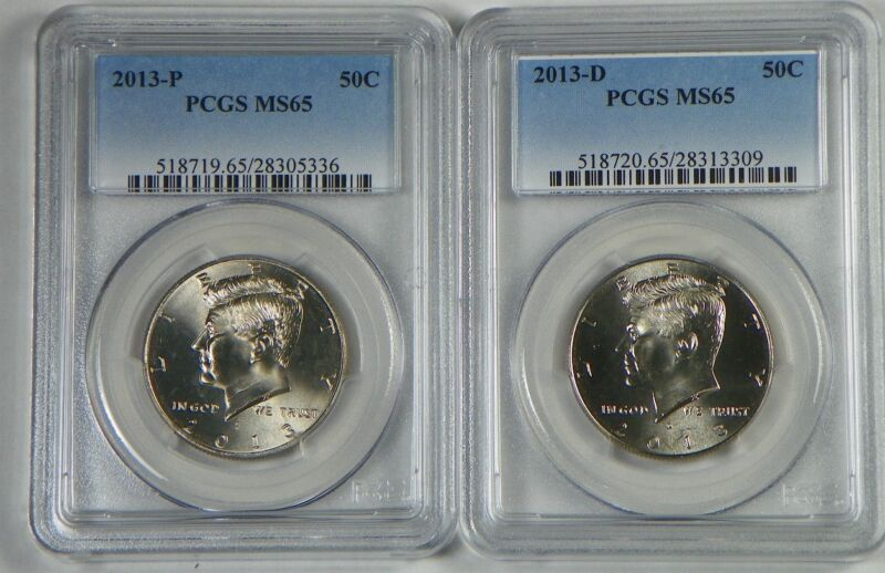2013 P&D Kennedy Half Dollar 2 Coin Set PCGS MS65 - FREE SHIPPING
