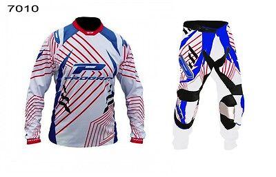 "Progrip Adult Motocross Pants & Shirt White-Blue-Red 36""-XXL Shirt"