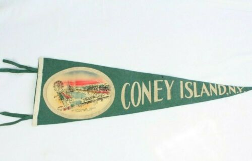 Vtg Steeplechase Park Coney Island New York NY Wool Felt Pennant SHIPS NEXT DAY