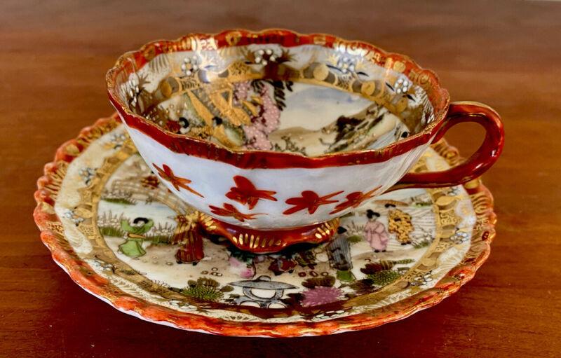 Antique Japanese Kutani Porcelain Cup and saucer Signed Meiji