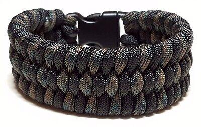 Mens Trilobite Wide Weave Woodland Camoflauge & Black Paracord Survival Bracelet