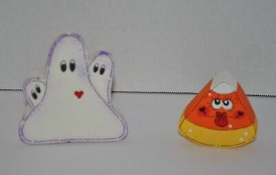 Halloween Ghost and Candy Corn Wood Wooden Cut Out Figurines Hand Painted  - Halloween Candy Hand Out