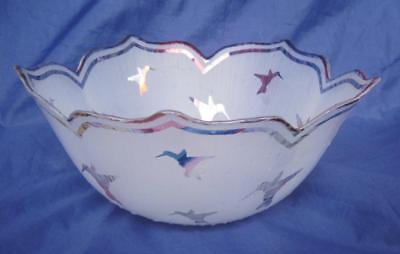 "VTG Hummingbirds Flower Shape Frosted Glass Bowl Bohemian Type Iridescent 8.25"""