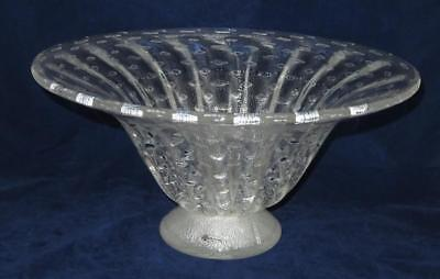 Art Glass Idea Murano, Italy, Clear & Silver Large Centerpiece Bowl, 8 3/4
