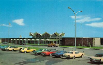 BISMARCK, ND North Dakota  MUNICIPAL AIRPORT  Terminal & Parking Chrome Postcard Municipal Airport Terminal