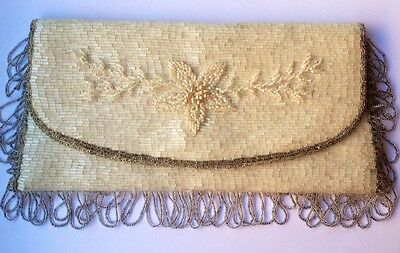 White and Silver Hand-Beaded 1950's Clutch with Beaded Fringe