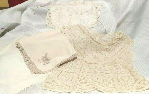 Lot of Antique Lace Items - blouse - bun cozy - napkins off white