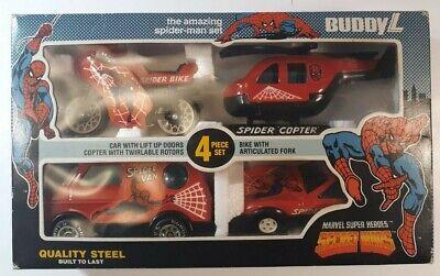 Buddy L Marvel SECRET WARS 4 Steel Vehicle AMAZING SPIDER-MAN SET Vintage 1984