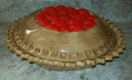 "Ceramic Strawberry Pie 11""Bake Dish Plate Keeper Cover Lid Oven"