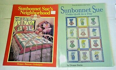 Lot 2 Sunbonnet Sue books Visits Quilt in a Day + Sue's Neighborhood patterns