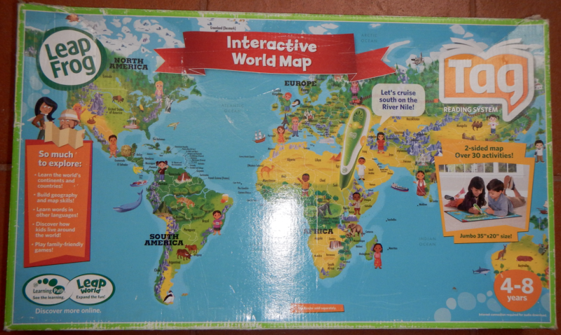 Leapfrog set tag reading system world map double face 2 books 1 of 3 gumiabroncs Gallery