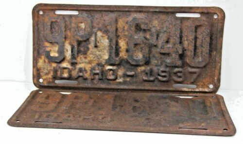 1937 IDAHO License Plate Collectible Antique Vintage 9P-16-40 Matching Set Pair