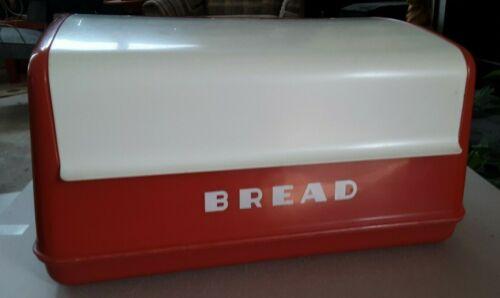vintage LUSTRO WARE Red White Plastic Bread Box B-20 Mid Century Modern/Retro