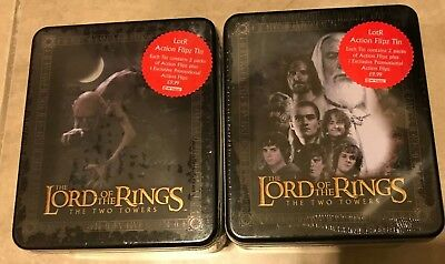 LOT 2 Lord of the Rings Two Towers Action Flipz Tins w/ Card Packs NEW Smeagel
