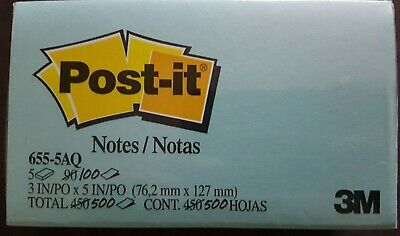 Post-it Notes 655-5aq 3x5 Notes Asst. Aquatic Colors 5pk 500 Count Total