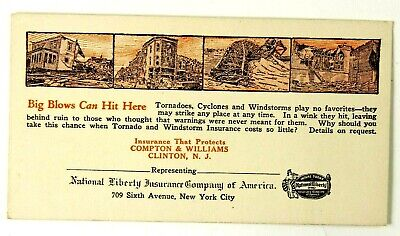 Vintage National Liberty Insurance Co Ink Blotter Advertising Clinton NJ