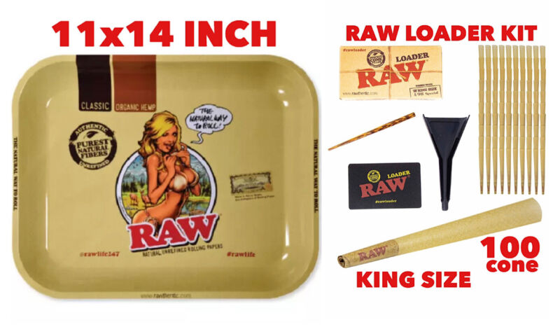 raw rolling metal tray (GIRL)large+raw king size cone(100 pack)+cone loader kit