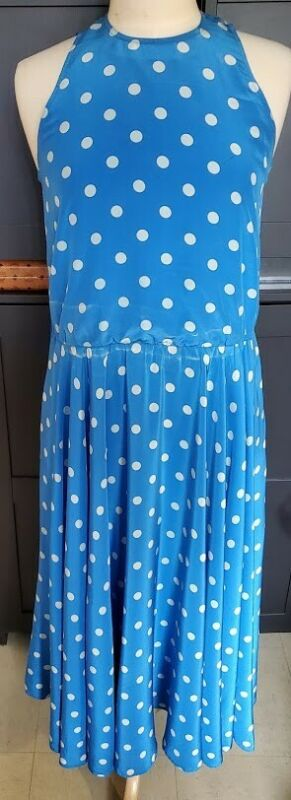 VINTAGE St, Gillian silk blue polka dot dress Size 6