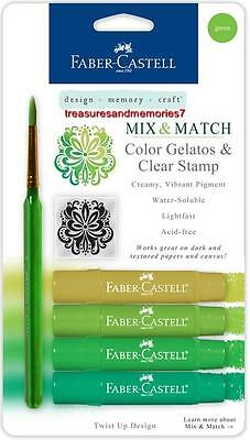 Faber-Castell Mix & Match GREEN GELATOS COLORS & CLEAR STAMPS Creamy Acid Free ()