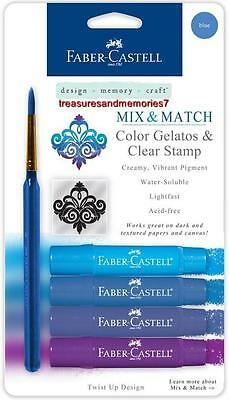 Faber-Castell Mix & Match BLUE GELATOS COLORS & CLEAR STAMPS Creamy Acid Free ()