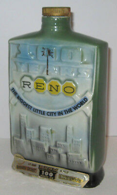 Vintage Jim Beam Embossed Decanter Bottle Reno 100 Years 1968 Bourbon Whiskey