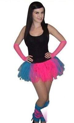 Blue Hen Party 80s Fancy Dress Leg Warmers Gloves Fun Run (Neon Blue Tutu)